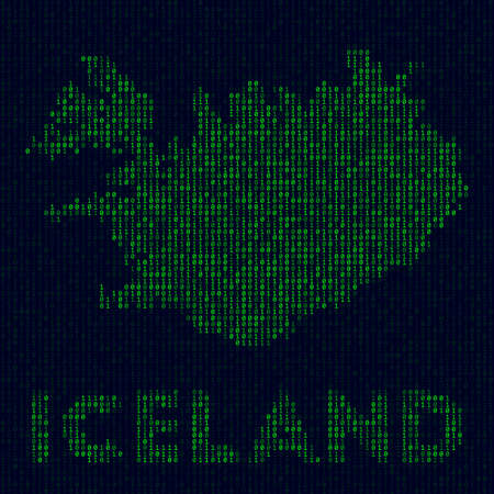 Digital Iceland logo. Country symbol in hacker style. Binary code map of Iceland with country name. Powerful vector illustration. Ilustrace