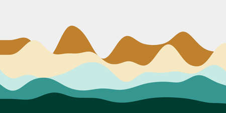 Abstract brown blue green hills background. Colorful waves modern vector illustration.