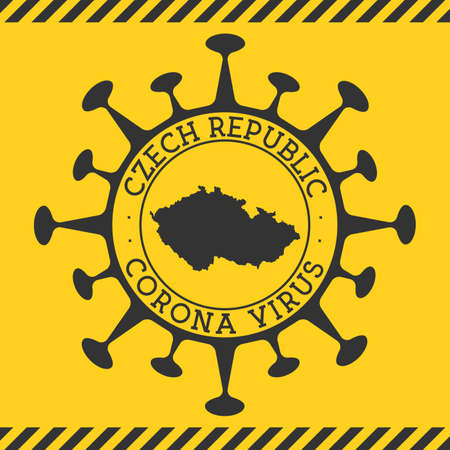 Corona virus in Czech Republic sign. Round badge with shape of virus and Czech Republic map. Yellow country epidemy lock down stamp. Vector illustration. 矢量图像