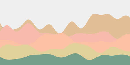 Abstract soft green pink brown hills background. Colorful waves creative vector illustration.