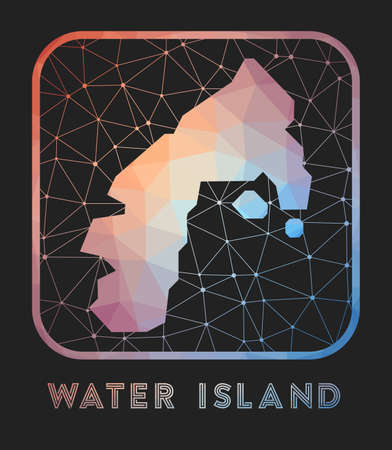 Water Island map design. Vector low poly map of the island. Water Island icon in geometric style. The island shape with polygnal gradient and mesh on dark background.