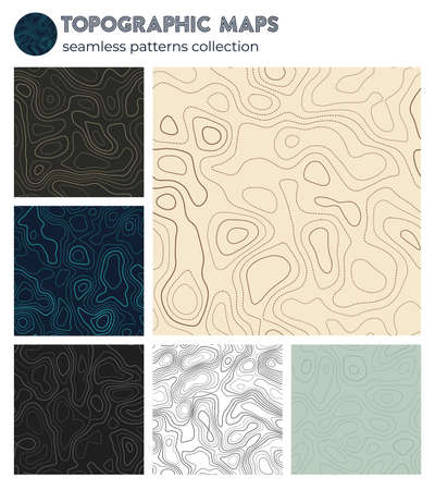Topographic maps. Awesome isoline patterns, seamless design. Powerful tileable background. Vector illustration. Illustration