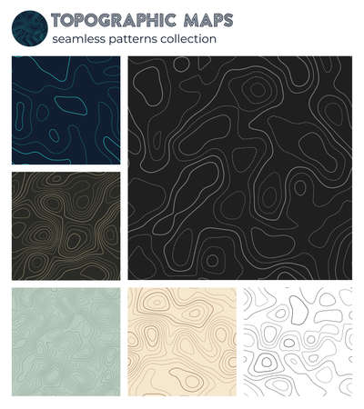 Topographic maps. Appealing isoline patterns, seamless design. Modern tileable background. Vector illustration.