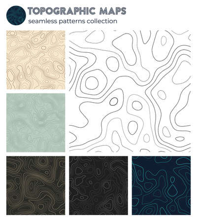 Topographic maps. Awesome isoline patterns, seamless design. Stylish tileable background. Vector illustration. Illustration