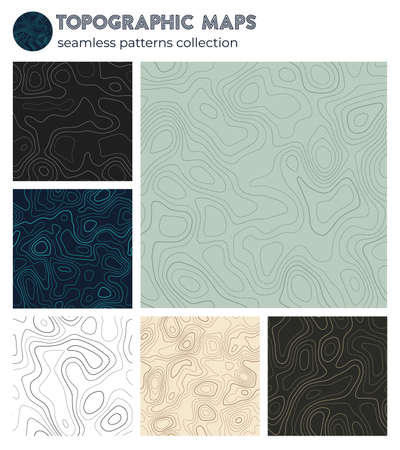 Topographic maps. Attractive isoline patterns, seamless design. Beautiful tileable background. Vector illustration.