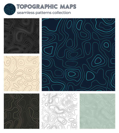 Topographic maps. Appealing isoline patterns, seamless design. Stylish tileable background. Vector illustration.