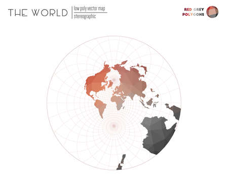 Polygonal map of the world. Stereographic of the world. Red Grey colored polygons. Contemporary vector illustration.