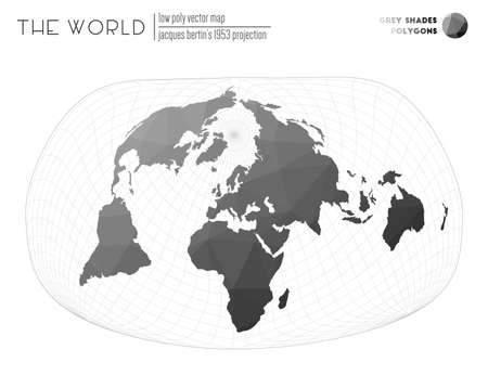 Low poly design of the world. Jacques Bertin's 1953 projection of the world. Grey Shades colored polygons. Awesome vector illustration.