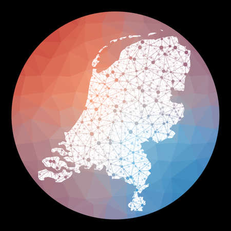 Vector network Netherlands map. Map of the country with low poly background. Rounded Netherlands illustration in technology, internet, network, telecommunication concept style. Illustration