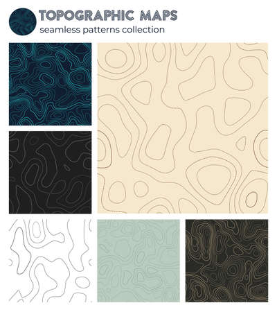 Topographic maps. Authentic isoline patterns, seamless design. Astonishing tileable background. Vector illustration.