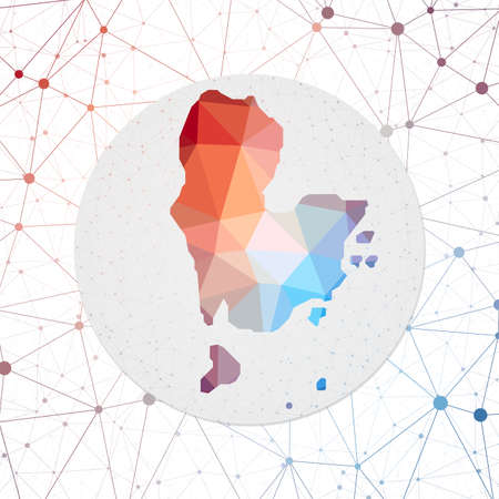 Abstract vector map of Redang Island. Technology in the island geometric style poster. Polygonal Redang Island map on 3d triangular mesh