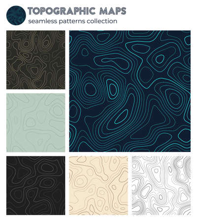 Topographic maps. Awesome isoline patterns, seamless design. Radiant tileable background. Vector illustration.