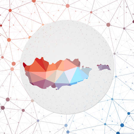 Abstract vector map of Cyprus. Technology in the country geometric style poster. Polygonal Cyprus map on 3d triangular mesh