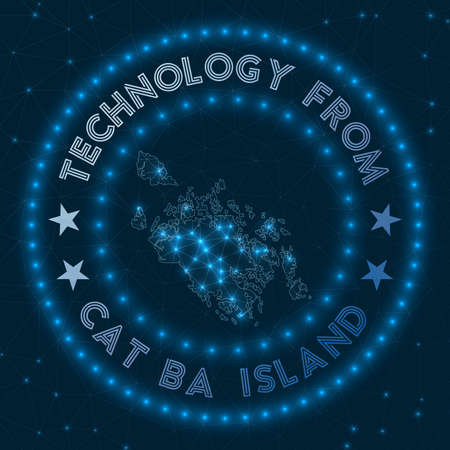 Technology From Cat Ba Island. Futuristic geometric badge of the island. Technological concept. Round Cat Ba Island logo. Vector illustration. Stock Illustratie