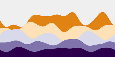 Abstract purple orange hills background. Colorful waves captivating vector illustration.