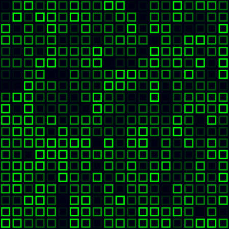 Tech pattern. Filled pattern of frames. Green colored seamless background. Vibrant vector illustration.