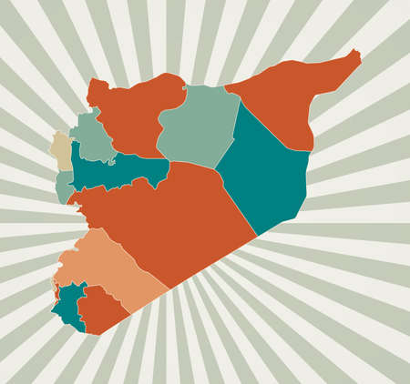 Syria map. Poster with map of the country in retro color palette. Shape of Syria with sunburst rays background. Vector illustration.