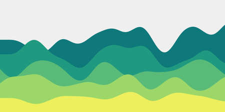 Abstract blue green yellow hills background. Colorful waves amazing vector illustration.  イラスト・ベクター素材