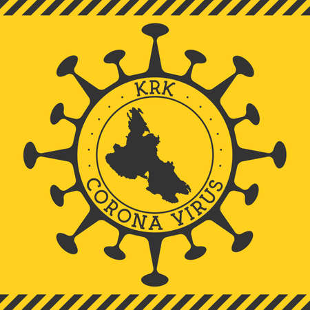 Corona virus in Krk sign. Round badge with shape of virus and Krk map. Yellow island epidemy lock down stamp. Vector illustration.