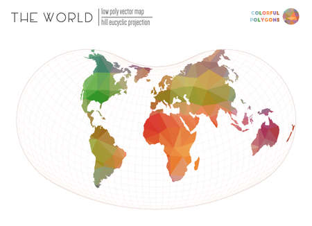 Abstract geometric world map. Hill eucyclic projection of the world. Colorful colored polygons. Stylish vector illustration.