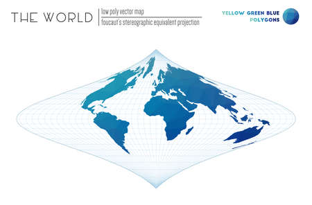 Abstract geometric world map. Foucaut's stereographic equivalent projection of the world. Yellow Green Blue colored polygons. Creative vector illustration.