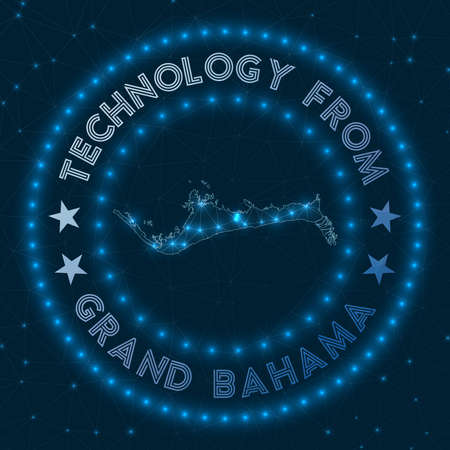 Technology From Grand Bahama. Futuristic geometric badge of the island. Technological concept. Round Grand Bahama logo. Vector illustration. Illusztráció