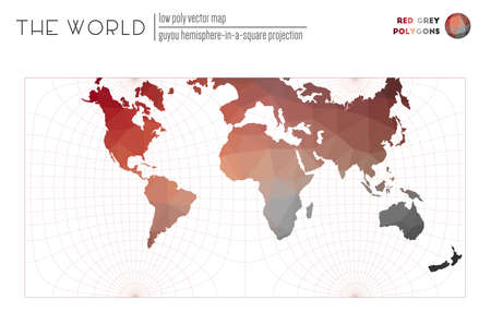 World map in polygonal style. Guyou hemisphere-in-a-square projection of the world. Red Grey colored polygons. Beautiful vector illustration.