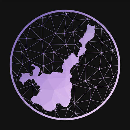 Ishigaki icon. Vector polygonal map of the island. Ishigaki icon in geometric style. The island map with purple low poly gradient on dark background.