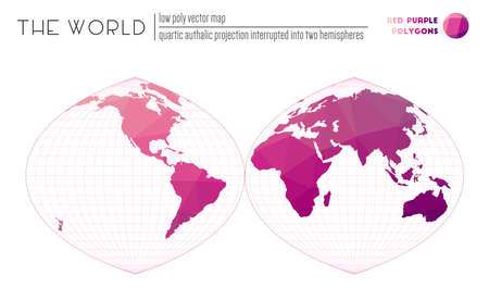 World map with vibrant triangles. Quartic authalic projection interrupted into two hemispheres of the world. Red Purple colored polygons. Contemporary vector illustration.