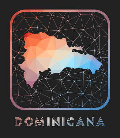 Dominicana map design. Vector low poly map of the country. Dominicana icon in geometric style. The country shape with polygnal gradient and mesh on dark background.
