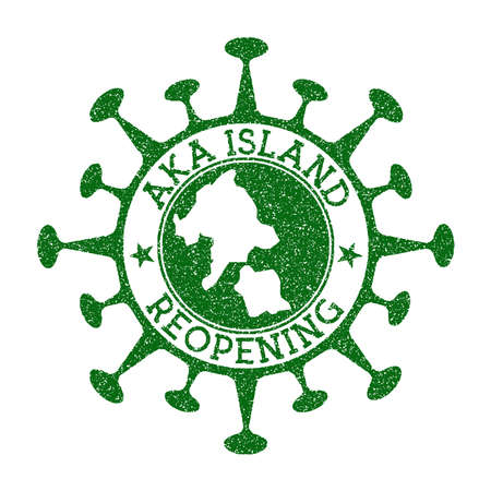 Aka Island Reopening Stamp. Green round badge of island with map of Aka Island. Island opening after lockdown. Vector illustration.