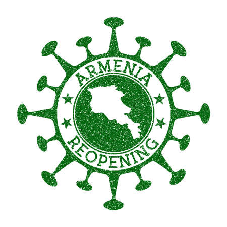 Armenia Reopening Stamp. Green round badge of country with map of Armenia. Country opening after lockdown. Vector illustration.