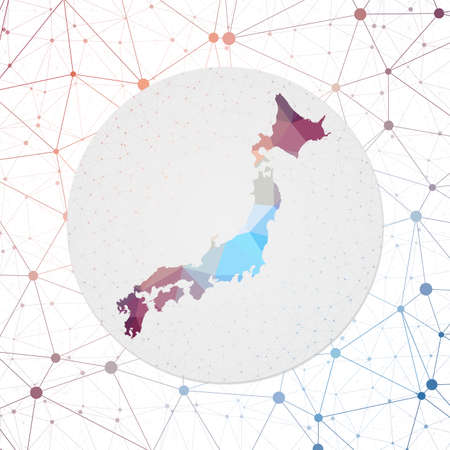 Abstract vector map of Japan. Technology in the country geometric style poster. Polygonal Japan map on 3d triangular mesh backgound. EPS10 Vector.