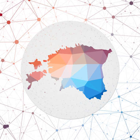 Abstract vector map of Estonia. Technology in the country geometric style poster. Polygonal Estonia map on 3d triangular mesh backgound 일러스트