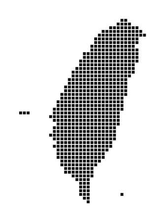 Taiwan map. Map of Taiwan in dotted style. Borders of the country filled with rectangles for your design. Vector illustration.