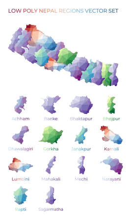 Nepalese low poly regions. Polygonal map of Nepal with regions. Geometric maps for your design. Neat vector illustration. 向量圖像