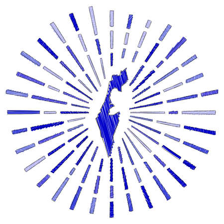 Sketch map of Israel. Sunburst around the country in flag colors. Hand drawn Israel shape with sun rays on white background. Vector illustration. 일러스트