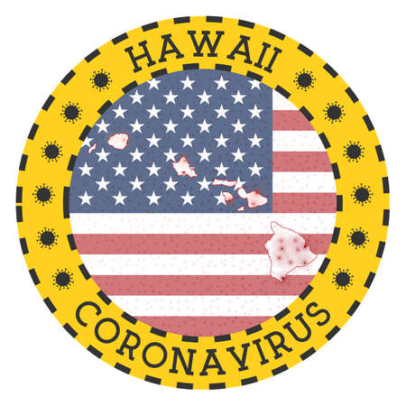 Coronavirus in Hawaii sign. Round badge with shape of Hawaii. Yellow island lock down emblem with title and virus signs. Vector illustration. 일러스트