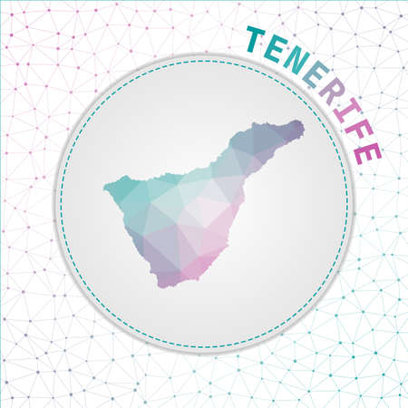 Vector polygonal Tenerife map. Map of the island with network mesh background. Tenerife illustration in technology, internet, network, telecommunication concept style . Cool vector illustration.