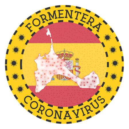Coronavirus in Formentera sign. Round badge with shape of Formentera. Yellow island lock down emblem with title and virus signs. Vector illustration.