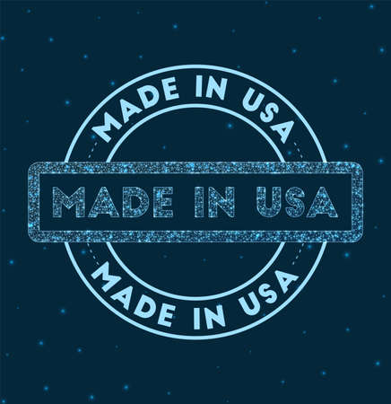Made in USA. Glowing round badge. Network style geometric made in USA stamp in space. Vector illustration. 일러스트