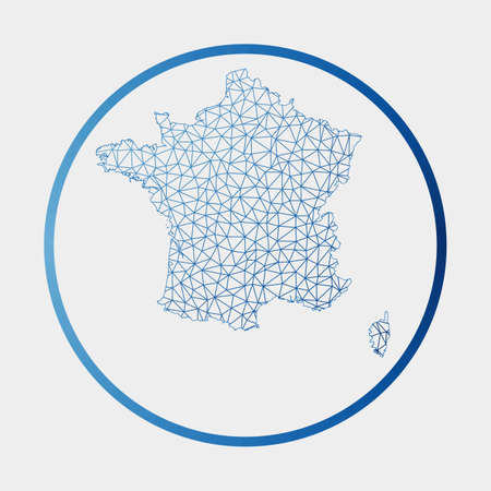 France icon. Network map of the country. Round France sign with gradient ring. Technology, internet, network, telecommunication concept. Vector illustration.