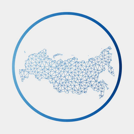 Russia icon. Network map of the country. Round Russia sign with gradient ring. Technology, internet, network, telecommunication concept. Vector illustration. 일러스트