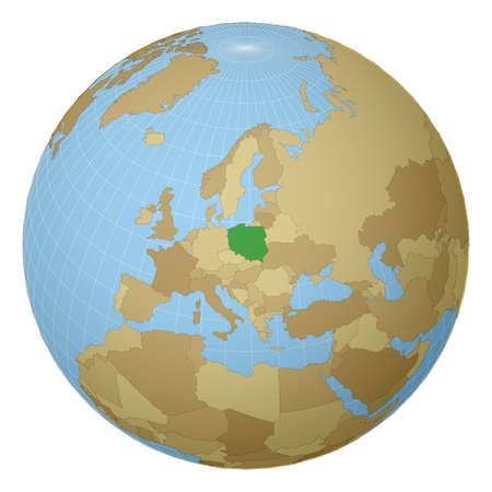 Globe centered to Poland. Country highlighted with green color on world map. Satellite projection view. Vector illustration. Illustration
