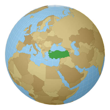 Globe centered to Turkey. Country highlighted with green color on world map. Satellite projection view. Vector illustration.