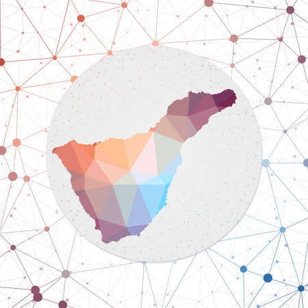 Abstract vector map of Tenerife. Technology in the island geometric style poster. Polygonal Tenerife map on 3d triangular mesh backgound. EPS10 Vector.