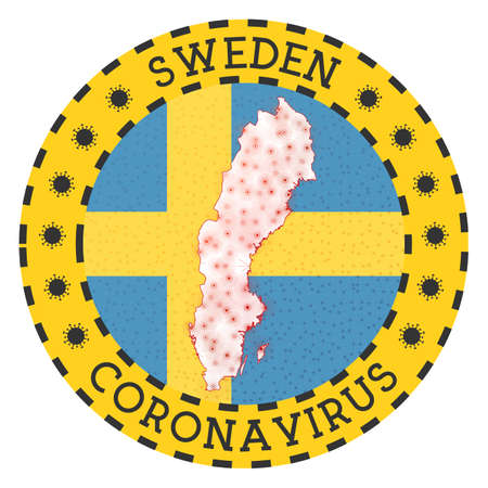 Coronavirus in Sweden sign. Round badge with shape of Sweden. Yellow country lock down emblem with title and virus signs. Vector illustration.