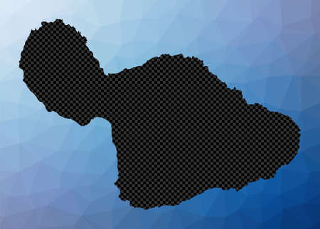 Maui geometric map. Stencil shape of Maui in low poly style. Neat island vector illustration.