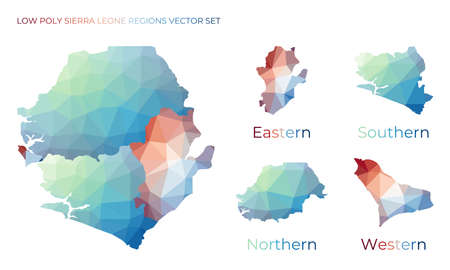 Sierra Leonean low poly regions. Polygonal map of Sierra Leone with regions. Geometric maps for your design. Elegant vector illustration. Ilustrace