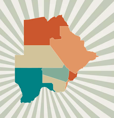 Botswana map. Poster with map of the country in retro color palette. Shape of Botswana with sunburst rays background. Vector illustration.
